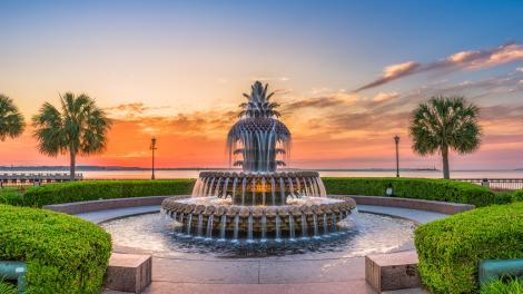 サウスカロライナ州チャールストンの有名なパイナップルの噴水