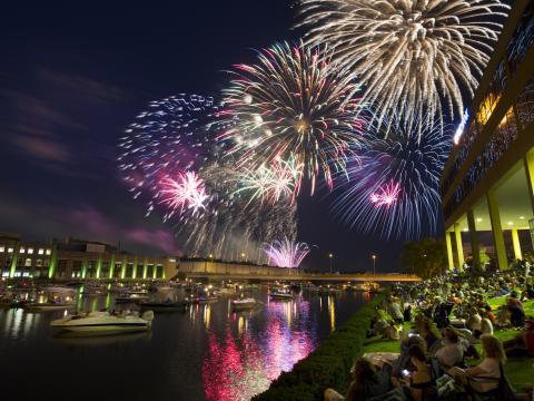 独立記念日の夜空を彩る花火
