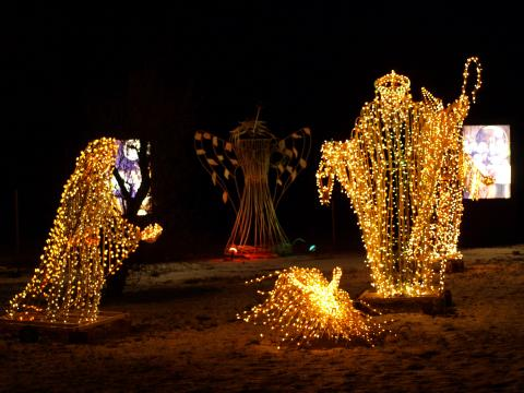 Festive decorations glowing at the Fatima Shrine Festival of Lights