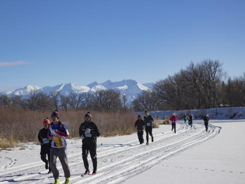 コロラド州アラモサのリオ・フリオ・アイス・フェスト&5K で走る参加者