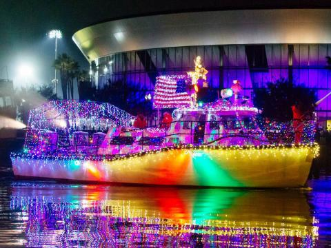 A colorful light display on a boat during the Stockton Lighted Boat Parade in California